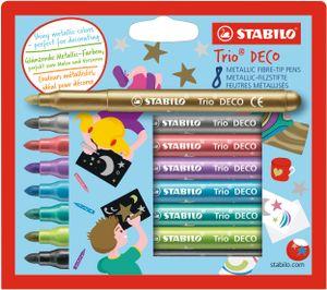Metallic-Filzstift mit robuster XL-Spitze - STABILO Trio DECO - 8er Pack - mit 8 verschiedenen Farben