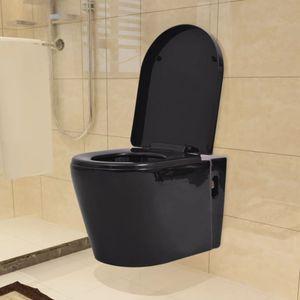Wandmontierte Toilette Keramik Schwarz