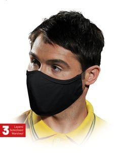 Mundschutz 10 STÜCK Maske Mund Nase Atemschutz 100% Baumwolle waschbar 3-lagig schwarz