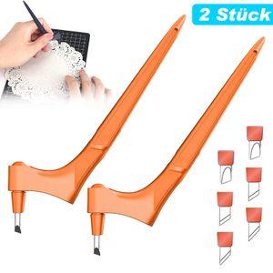 2 Stk. Bastelmesser Handhelder Tranchiermesser Papierschneidemesser, 360-Grad-drehbare Multifunktions-Schneidewerkzeuge mit 6 klingen