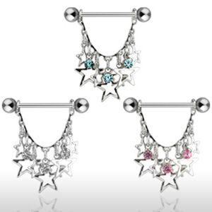Brustwarzen-Piercing Nippelpiercing Brustpiercing Sterne Kette Barbell, Farbe:Pink