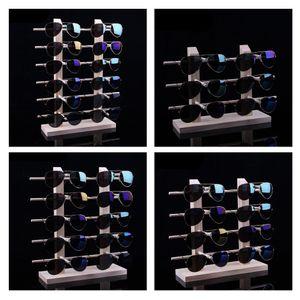4 Stück Holzbrille Sonnenbrille Display Rack Ständer Halter Veranstalter