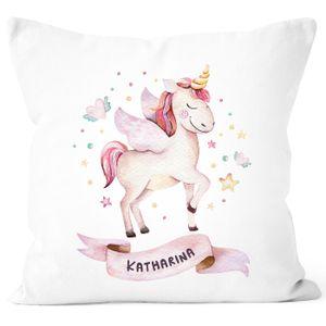 Kissen-Bezug Einhorn mit Namen Kissen-Hülle Namenskissen Baumwolle personalisierte Geschenke Dekokissen SpecialMe® weiß unisize