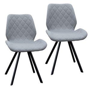 SVITA DIAMOND 2er Set Esszimmerstühle Stühle Küchenstuhl Polsterstuhl Stoff Hellgrau/Grau