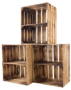 3x  geflammte/braune Holzkiste mit Mittelbrett Quer 50cm x 40cm x 30cm Obstkiste Holzregal Kiste Weinkiste