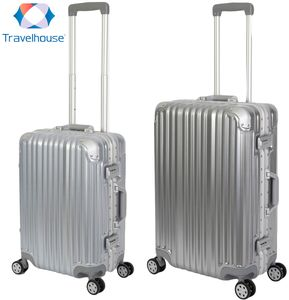 Travelhouse - London - 2er Reisekoffer Set | TSA Schloss |Polycarbonat Hartschale  | Alu-Rahmen | 4 Rollen | Koffer Trolley Reise Urlaub  Gepäck - Koffer Set S+M | Silber