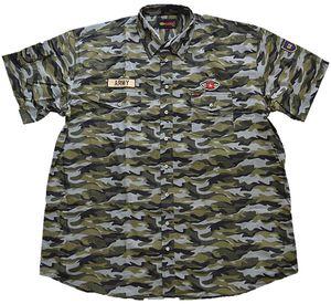 Übergrößen Kurzarm Hemd KAMRO Grün Camouflage 6XL