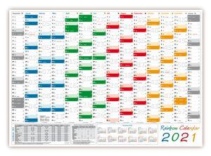 Rainbow Wandkalender / Wandplaner 2021 (gerollt) DIN A0 Format (841 x 1189 mm) mit 14 Monaten, kompletter Jahresvorschau 2022 und Ferientermine/Feiertage aller Bundesländer