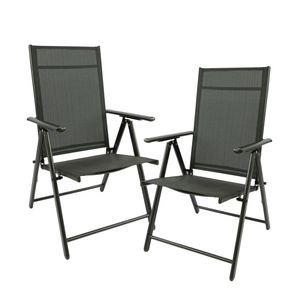 Alustuhl 2er Set Gartenmöbel Sitzgruppe Hochlehner Stühle Klappstuhl Anthrazit