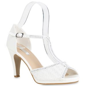 Mytrendshoe Damen Riemchensandaletten High Heels Sandaletten Party Schuhe 820943, Farbe: Weiß, Größe: 39