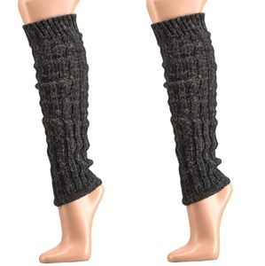 krautwear® 2 Paar Stulpen mit Alpakawolle ca. 40cm Legwarmers Grobstrickstulpen (2x Anthrazit)