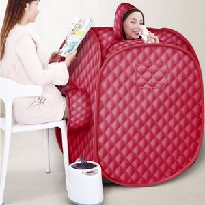 WYCTIN Mobile Dampfsauna für 2 Personen Heimsauna Wärmekabine Saunakabine Sitzsauna 2.5L 1000W Rot