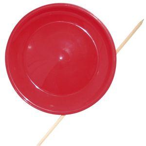 EDUPLAY 170-011 Jonglierteller Ø aus Kunststoff 23cm mit Stab, rot (1 Stück)
