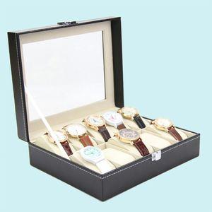 Hochwertige Uhrenbox Gro?e 10 Gitter Herren Schwarz Kunstleder Display Schmucketui Organizer Geschenkbox Aufbewahrungskoffer mit Schloss und Spiegel