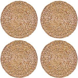 Ein Satz von 4 runden Tischsets aus gewebter Wasserhyazinthe 30 cm