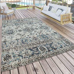 In- & Outdoor Teppich Modern Orient Design Terrassen Teppich  Grau, Grösse:120x170 cm