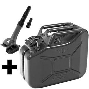 Oxid7® Metall Benzinkanister, pulverbeschichtet, schwarz 10 Liter + Ausgießer