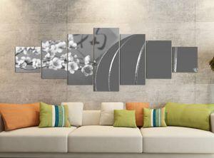 Leinwandbilder 7 Tlg 280x100cm schwarz Kirsche rot Baum Blumen Lampe China japanisch Garten Leinwand Bild Teile teilig Kunstdruck Druck Wandbild mehrteilig 9YB2829, Leinwandbild 7 Tlg:ca. 280cmx100cm