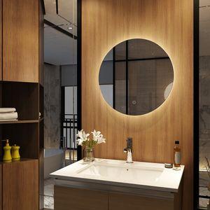 Meykoers Badezimmerspiegel Rund 60cm Durchmesser LED Badspiegel mit Touch Schalter, IP44 Energiesparend - Kaltweißen