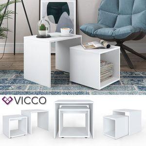 Vicco Couchtisch Beistelltisch Set Weiß - Wohnzimmer Sofatisch Kaffeetisch