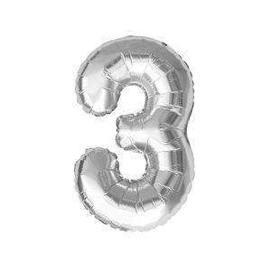 Oblique Unique Folien Luftballon mit Zahl 3 Geburtstag Jubiläum Party Deko Ballon - silber