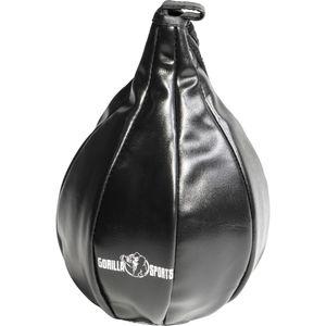 GORILLA SPORTS® Punchingball - Hängend, mit Lederöse, 18 cm Durchmesser, aus Kunstleder, Schwarz - Boxbirne, Punchingbälle, Boxsack, Boxbirne, Speedball Boxen, Speedbag, MMA, Muay Thai