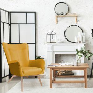 Selsey Sessel FIANNA - Ohrensessel mit wasserabweisendem Stoffbezug in Senfgelb und hellen Holzbeinen, Sitzfläche 52 x 54 cm