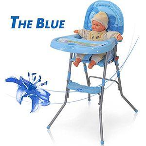 Babyhochstuhl Kinderhochstuhl mit Sicherheitsgurt und Großem zusammenklappbar Baby Hochstuhl tragbar Infant Esstisch Treppenhochstuhl Verstellbar (Blau)