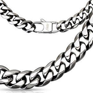 Königskette massiv 10mm breit Silber aus Edelstahl Herren