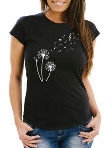 Damen T-Shirt Pusteblume Musiknoten Noten Musik Dandelion Slim Fit tailliert Baumwolle Neverless® schwarz XXL