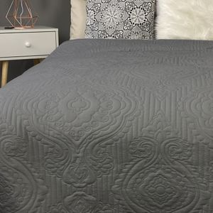 Tagesdecke gesteppt Ornamente Bett & Sofaüberwurf Dunkelgrau 200cm x 220cm