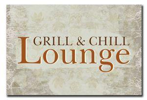 Hochwertiges Metallschild 30 x 20 cm aus Alu Verbund Grill & Chill Lounge Deko Schild Wandschild