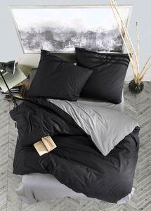 Bettwäsche 200x200 cm. 3 teilig set, schwarz/grau,100% Baumwolle/Renforcé, Prestige V3