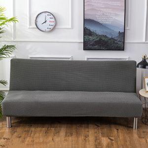 Sofa-Bezug, Stretch-Sofa-Bettbezug , Anti-Rutsch-Schutz für Couch ohne Armlehnen, Elasthan-Jacquard-Stoffbezug Futonbezug, silbergrau