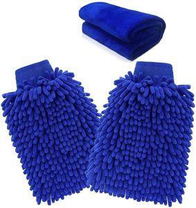 Waschhandschuh microfaser,  (2 Stück) Wasserdicht Auto Reinigung Mikrofaser Handschuhe und (1 Stück) Mikrofaser Reinigungstuch | Reinigungshandschuhe für Büro/Fahrzeug/Haushalt