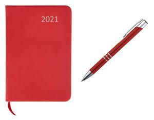 Taschenkalender 2021 / ca A7 / PolyurethanEinband / Farbe: rot + Metall Kugelschreiber