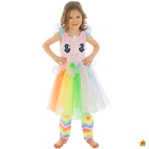 Kinder Kostüm Regenbogen Einhorn, Kleid, Größe:104
