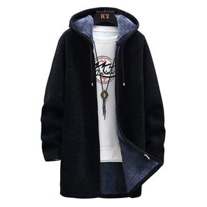 Herren Long Coat Jacke Oberbekleidung Hooded Winter Hoodie Casual Kälteschutz Größe:XXL,Farbe:Schwarz