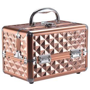 COSTWAY Kosmetikkoffer Schminkkoffer Beauty Case Schmuckkoffer Multikoffer Friseurkoffer mit Spiegel Gold