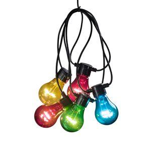 Konstsmide - LED Biergartenkette, bunt, 10 bunte Birnen / 80 warm weiße Dioden, 24V Außentrafo, schwarzes Kabel