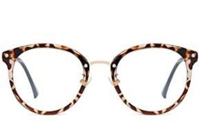 Rund Groß Brille mit Blaulichtfilter ohne Sehstärke Anti-Blaulicht Gläser Brille