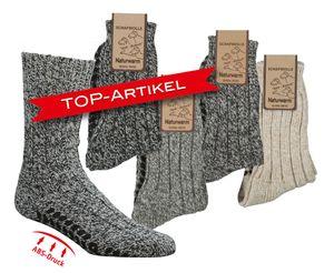 2 Paar Antirutsch Norwegersocken ABS Gr. 47/50 für Damen Herren mit 49% Wolle