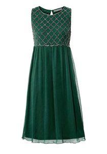 ashley brooke Kleid fließendes Damen Crêpe-Kleid mit Stickereien Grün, Größe:38