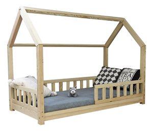 Best For Kids Kinderbett Kinderhaus mit 10 cm Matratze und Rausfallschutz Jugendbett Natur Haus Holz Bett