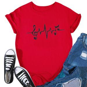 Frauen Casual O-Neck Heartbeat Print Kurzarm T-Shirt Top Bluse Größe:S,Farbe:Rot