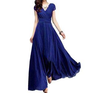 Plus Size Solid Color Frauen Party Kleid V Ausschnitt Kurzarm Slim Fit Maxi Kleid Blau 5XL ALCYONEUS1
