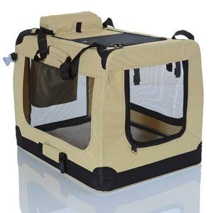 faltbare Haustier Transportbox, Farbe/Größe: Beige 60x42x42 cm