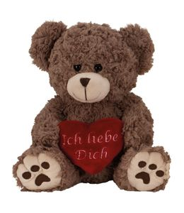 Teddy Bär 25 cm mit Herz Ich liebe Dich Grau Braun
