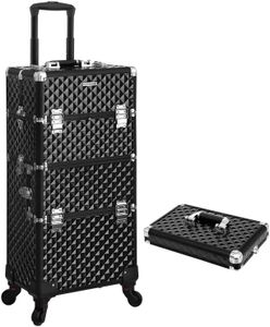 SONGMICS schwarz Schminkkoffer mit Tragebox für Nageldesign 75 x 36 x 23 cm Make-up Koffer Kosmetikkoffer Trolley Make-up Organizer JHZ04B