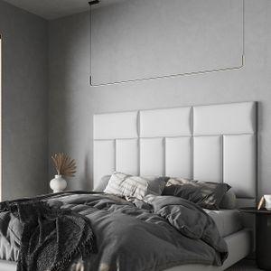 Mocadu Wandkissen Leder - Polster mit 50 mm Polsterung - Bett Kopfteil Wandpolster - Wanddeko - Wandpaneele | 60 x 30 (Weiß LV0)